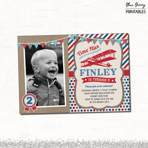 Vintage Airplane Invitation. Boy First Birthday Invite
