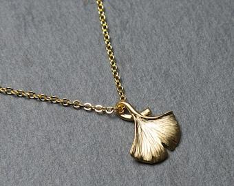 Leaf necklace, gold. Ginkgo leaf necklace. Gold leaf necklace.