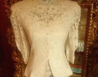 Vintage Lace Prairie Style Blouse Blazer by Cachet Petite Bari Protas
