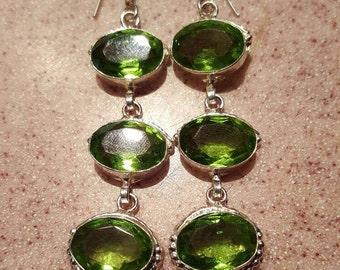 Lime Green Quartz Earrings!