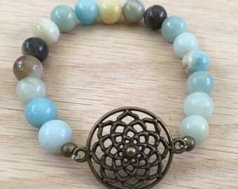Amazonite Mandala Bracelet, Communication, gemstone bracelet, bead bracelet, healing crystals, reiki jewelry, spiritual jewelry, Summer Sale