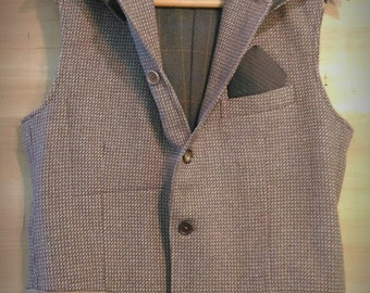 Hooded Man Jacket Vest L size 50 ITA vintage restyle made of cachemire and wool