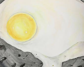 Fried Egg Watercolor Painting
