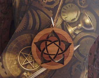 Flower Pentagram Design- Laser Cut and Engraved Wood Pendant Necklace - pagan, wicca, witch.