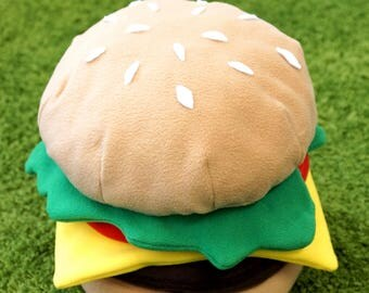 Cheeseburger Burger Fast Food  Handmade Pillow Cushion with Separate Elements