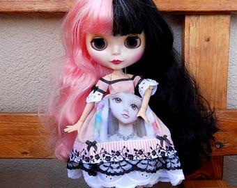 Lolita harajuku pink print - dress for Blythe custom doll