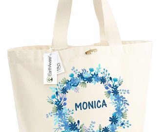Cotton bag BIO flowers blue Monica - large bag slung - mothers holiday - married - bridesmaid - customizable - anniversary