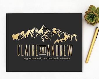 Real Gold Foil Wedding Guest Book landscape horizontal Gold foil Guest Books Custom Guestbook Modern Wedding Script Wedding - bla