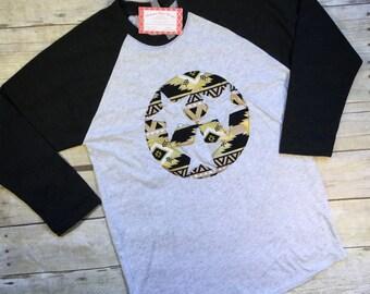 Tennessee Tri Star Baseball Tee, Black and Gold Tri Star, TN Tri Star Shirt