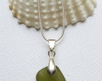 Green, cube, Sea glass necklace, seaglass jewelry, Drilled seaglass, keyring, charm, Beach glass, Beach finds, Eco jewellery, Gift for her
