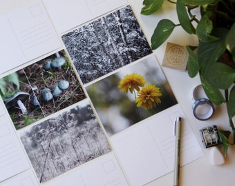 Set of 4 colour photograph postcards | cartes postales en couleur | snail mail card