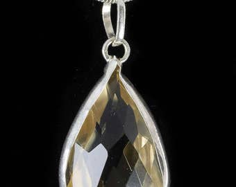 3.5cm Faceted CITRINE Pendant - STERLING SILVER Pendant, Yellow Citrine, Crystal Jewelry, Citrine Necklace, Citrine Jewelry Making J0497