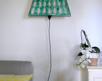 Special handmade unique lamp, green painted Japanes paper, eye-catcher, wall light