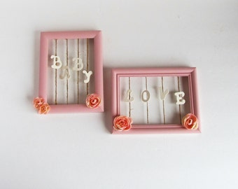 Pink Nursery Frame Set, Framed Baby Nursery Wall Accent, Baby Girl Gift