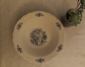 Vintage Ironstone bowl with a scalloped Edge with Blue on White botanical transfer, White Ironstone, vegetable dish, serving bowl