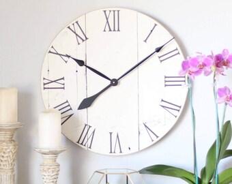 "20"" wall clock - wall clock wood - wall clock modern - cottage white - farmhouse decor - farmhouse wall decor - living room decor - rustic -"