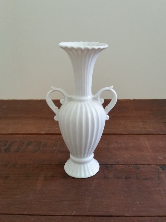 White Vase With Handles | Vintage 1970's - Made by Lego Japan | Mid Century Bud Vase | Home Decor