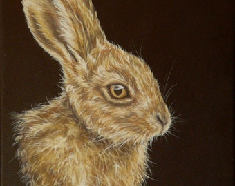 Original canvas by Alison Armstrong - Wildlife / Animal Painting - Brown Hare