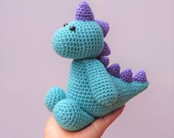green and purple crochet dinosaur toy / amigurumi dinosaur / dinosaur softie / green dinosaur toy / dinosaur soft toy / dinosaur plushie