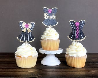 Bachelorette party cupcake toppers, bachelorette party decorations, bachelorette party supplies, corset cupcake toppers, bridal shower decor