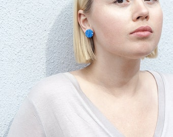 Patterned modern simple hand made earrings / Minimalist blue studs / polymer and silver / modern gift contemporary