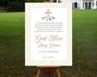 First Communion Sign, Baptism Sign, Religious, Christening, Communion, Holy, Gold, Ivory, Welcome Sign, God Bless, Confirmation
