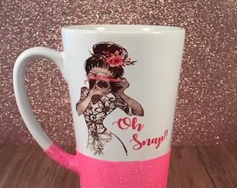 Oh Snap coffee mug, oh snap, camera mug, camera coffee cup, photographer coffee mug, photographer gift, coffee mug, coffee mug