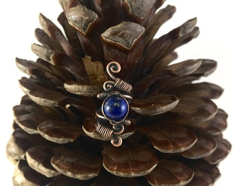 Oxidised Copper and Lapis Lazuli Dreadlock accessory