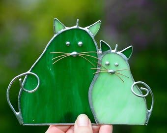 Stained glass cats Green window decoration Tiffany glass art Home animal decor Suncatcher Nature art style Birthday gift for wife children