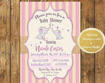 Digital file or Printed- Girl Elephant Baby Shower Invitation-Burlap Elephant Invite-Printable Pink Elephant Baby Shower Invitation-Jungle-