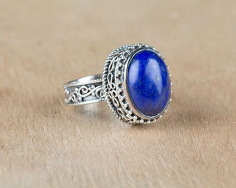 Lapis Ring, Sterling Silver Ring, Statement Ring, Gypsy Bohemain Ring, Lapis Lazuli Ring, Blue Stone Ring, September Birthstone Ring