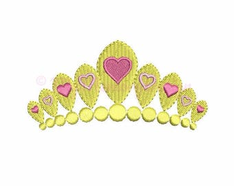 Crown embroidery - Princess embroidery - Tiara embroidery - Girl Embroidery -  Machine Embroidery Design - Instant download