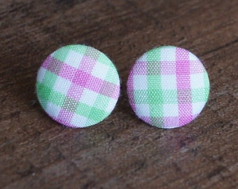 Pink Green Gingham Fabric Button Stud Retro Earrings