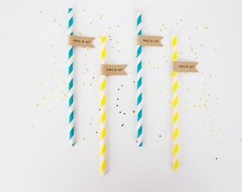Customised Party Straws . Custom Paper Straws . Birthday Straws with Flags .