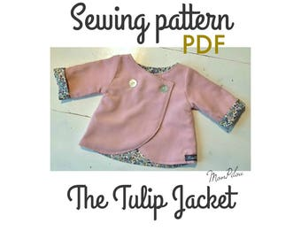 PDF sewing pattern for 15''/16'' tall dolls The Tulip Jacket - a double breasted, reversible jacket