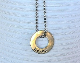 Hand Stamped Washer Necklace with Stainless Steel Chain - Loved