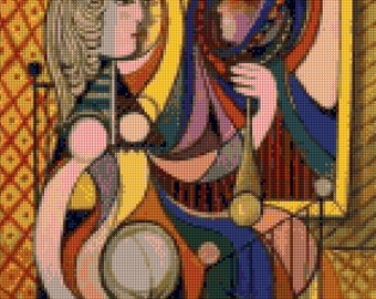 Picasso 'Girl with Mirror' Cross Stitch Pattern - PDF Instant Download