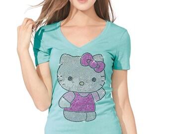 New HELLO KITTY V-neck t-shirt Women Girls Shiny Sparkly RHINESTONE cute nice sweet v-neck tshirt
