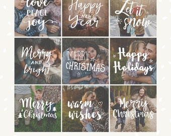 Christmas Photography overlays, Christmas overlays, word art, hand lettering, social media template, brush letter, Happy new year, holidays