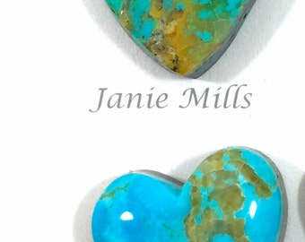 turquoise hearts 16x17mm cabochons sold as pair
