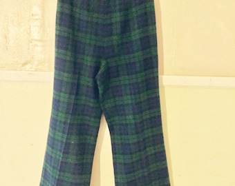 Women's Vintage Pendleton Plaid Wool Pants Marked Size 12