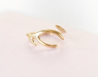 Solid 9ct Yellow Gold Antler Ring gift for her