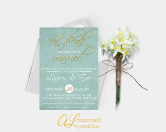 Couples Shower Invitation, Bride and Groom Shower Invitation, Eat Drink and Soon to be Married, Bridal Shower Invite, Couples Shower