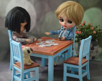 10% OFF 1/6 Hand Made Shabby Cottage Chic Dining Table with 4 Chairs (blue) for Blythe/ Barbie/ Azone/ Momoko/ Pullip C33