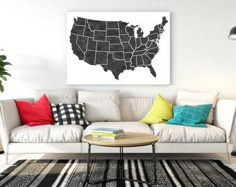 United States Map Etsy - Large map of us states