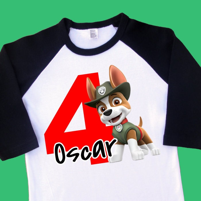 Tracker Paw Patrol Birthday Raglan Shirt Personalized With Name And Age 2nd