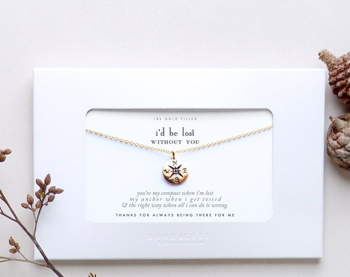 I'd Be Lost Without You | Custom Customized Personalized Message Card Bestfriends Long Distance Gift | Gold Filled Compass Necklace