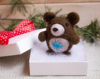 SALE Felted Bear Ornament Christmas Ornament  Bear Ornament Christmas Decoration, Woodland Ornament, Christmas Gift Felt Christmas ornaments