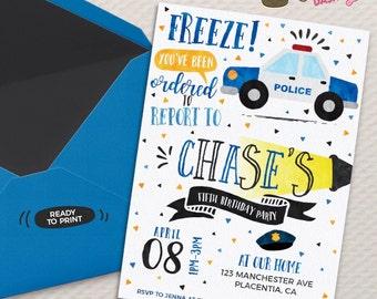 Police Birthday invitation DIY Cops and Robbers Party invitation police officer invitation Watercolors Invitation
