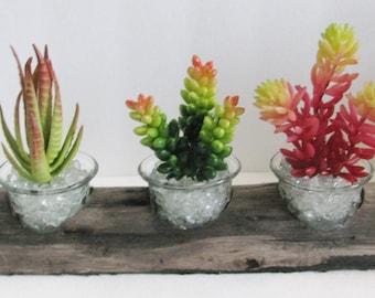 Faux Succulent Planter in Driftwood,  Artificial Succulent Arrangement, Indoor Garden,  Succulent Garden, Succulent Decor